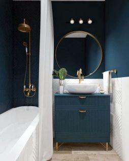 Le 50 migliori idee per il bagno blu_ interni a tema blu scuro
